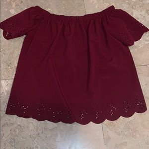 maroon off the shoulder blouse